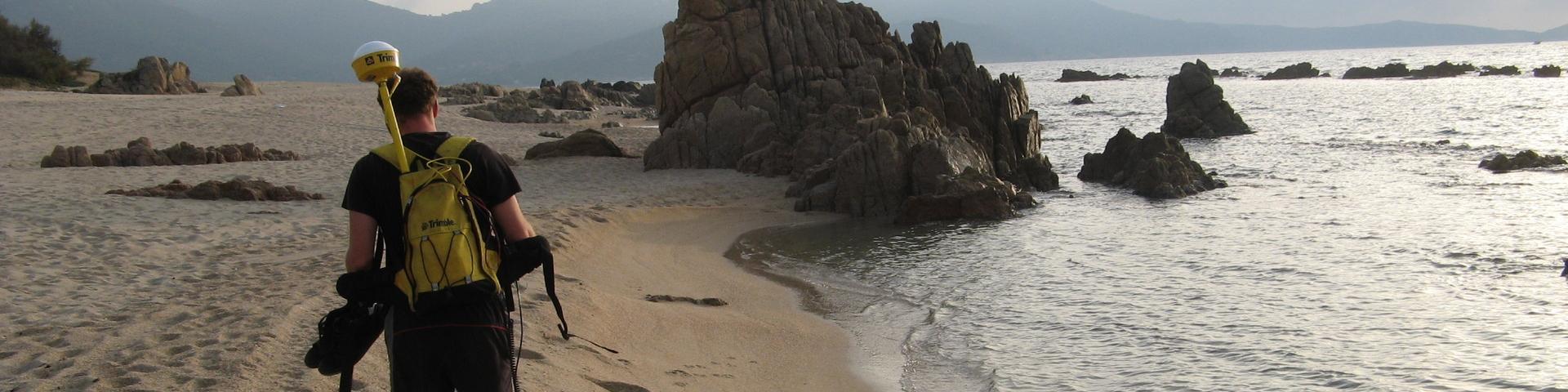 Making a survey of the shoreline, Corse-du-Sud