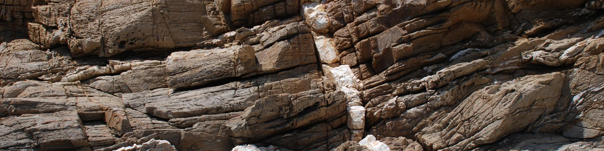 Quartz vein running through gneiss in the Maures massif, Var
