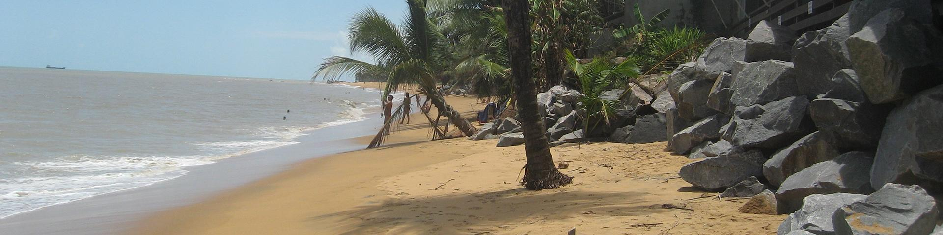View of coastal erosion along the beaches at Rémire-Montjoly, French Guiana