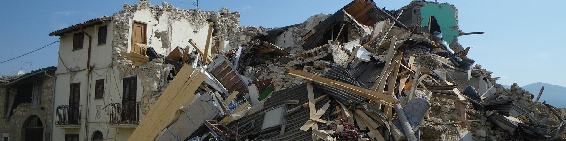 Houses destroyed by the earthquake in the Abruzzo region, Italy