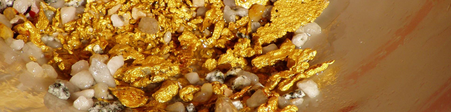 A concentration of gold nuggets, French Guiana
