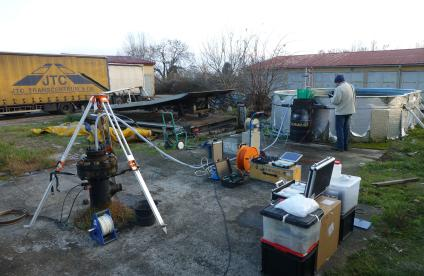 Sampling fluids from the geothermal well at Litomerice in the Czech Republic