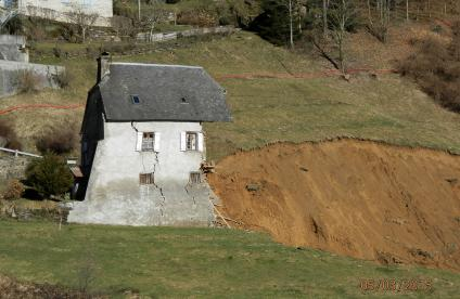 A mountain house destroyed by a landslip near Gazost, Hautes-Pyrenees