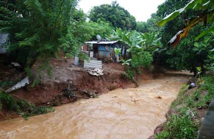 A landslip caused by flooding in Mayotte