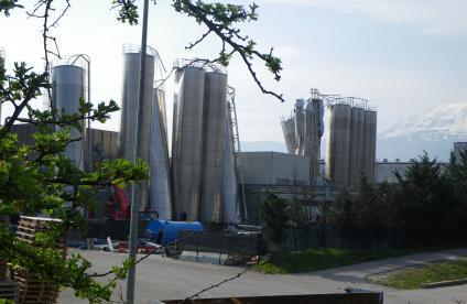 View of the buckling damage to silos in Bazzano
