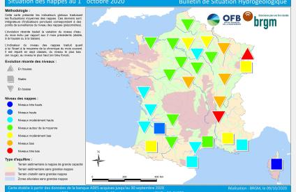 Map of water table levels in France on 1 October 2020