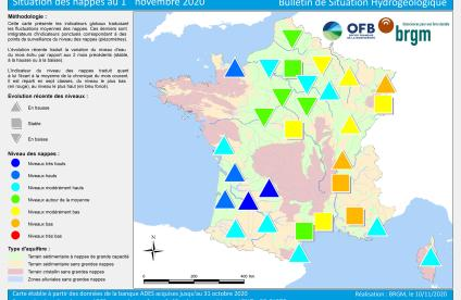 Map of water table levels in France on 1 November 2020