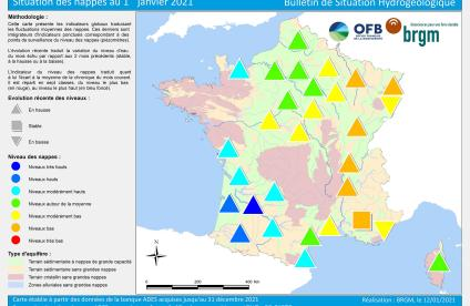 Map of water table levels in France on 1 January 2021