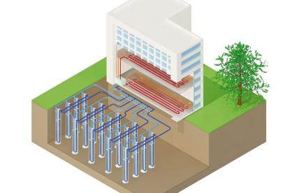 Representation of a field of vertical geothermal probes