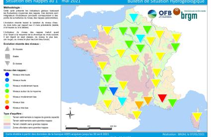 Carte de France de la situation des nappes au 1er mai 2021