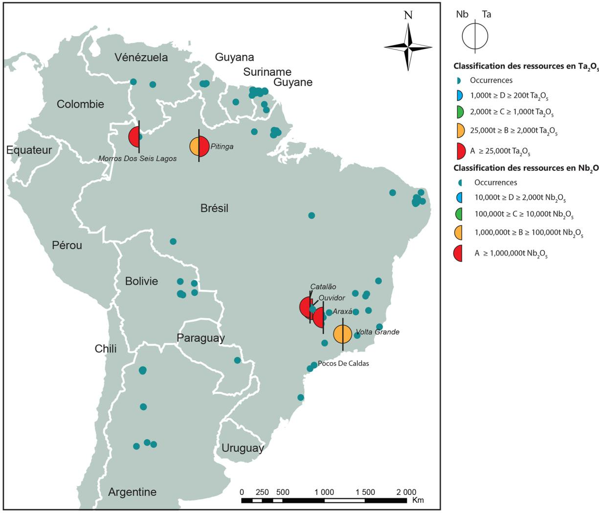Distribution of the different tantalum and niobium occurrences and deposits in South America