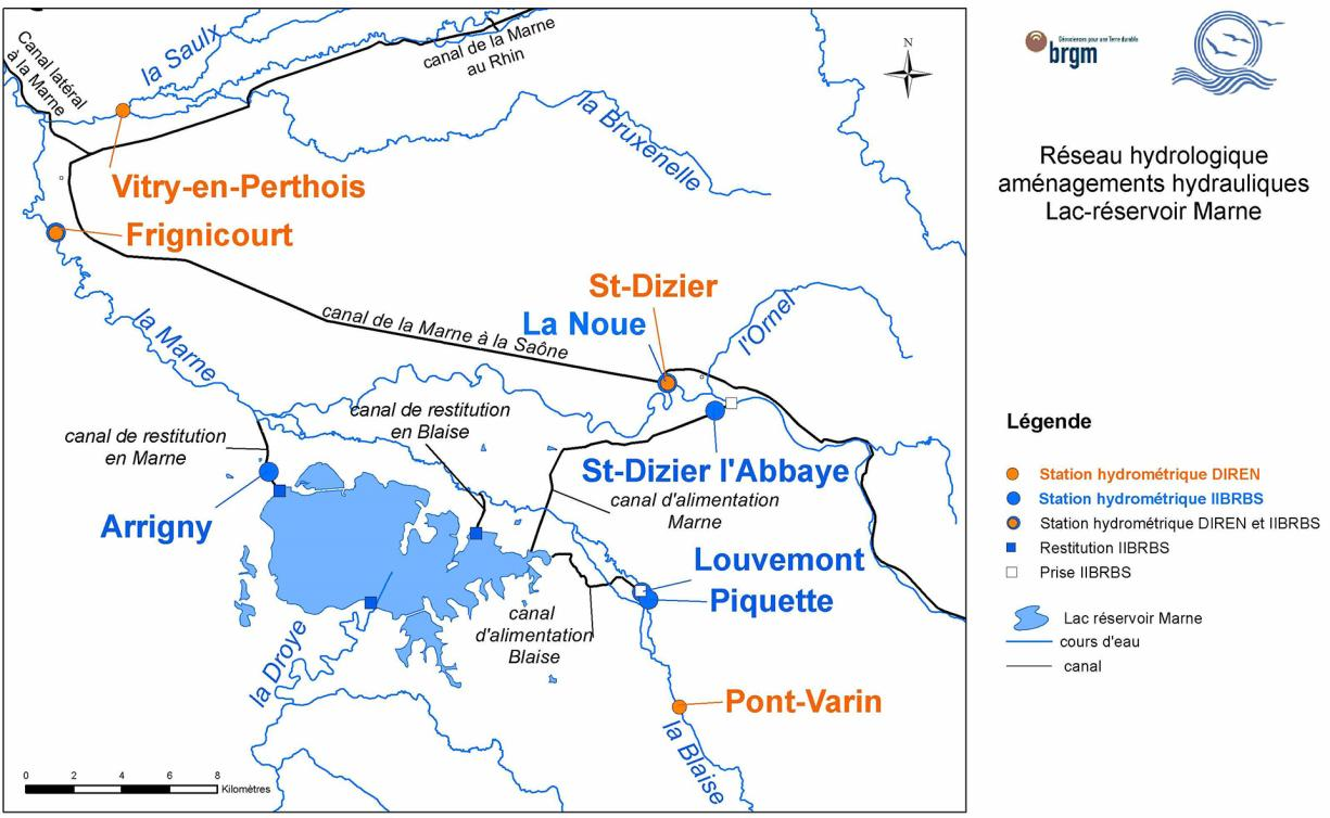 Map of the hydrological and hydraulic network of the Marne reservoir lake.