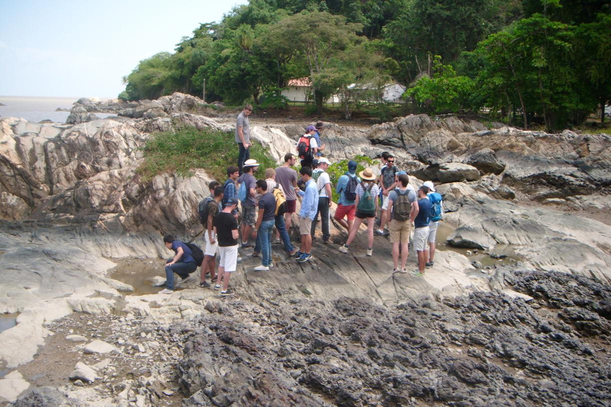 Students learn about the local geological heritage at the Pointe Buzaré