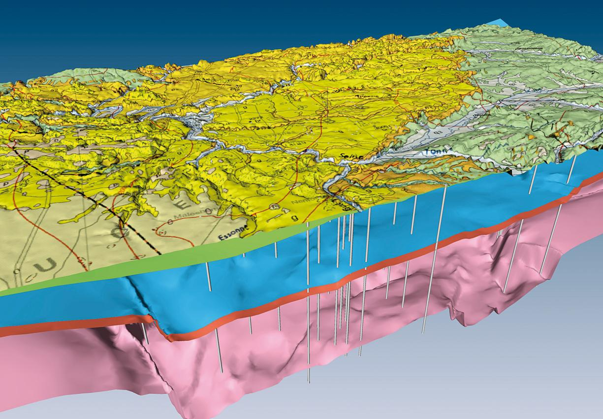 Extract from the 3D geological model of the Paris Basin, with the geological map overlaid onto the digital terrain model