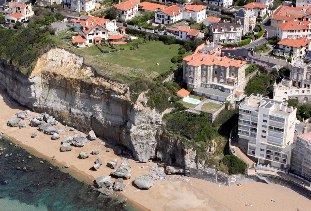 A rockfall along the Miramar cliff near Biarritz