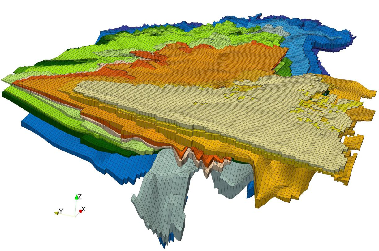 3D representation of the 15 aquifers covered by the MONA model for northern Aquitaine