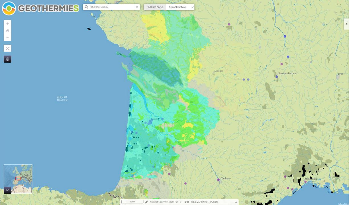 Atlas of geothermal potential in Nouvelle-Aquitaine