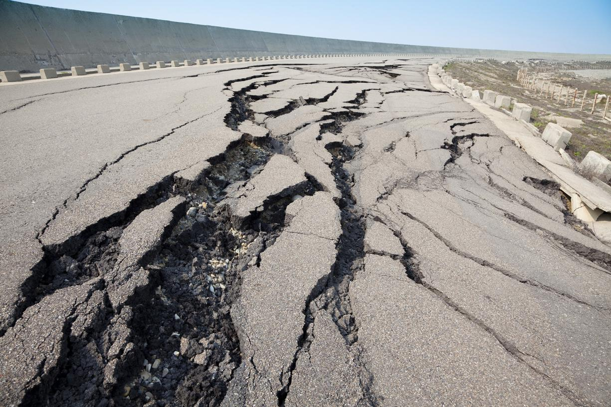 Cracked road following an earthquake