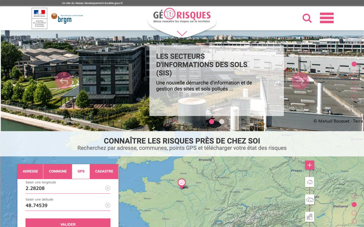 Géorisques home page