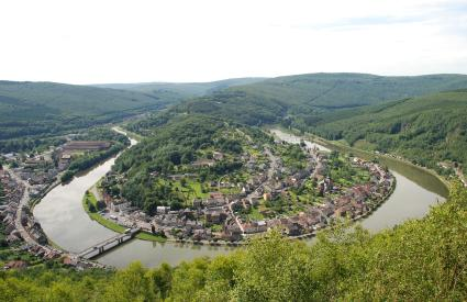 Remarkable Meuse meander embedded in the relief of the Ardennes